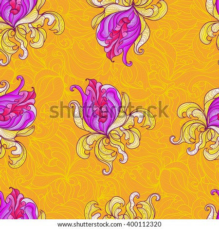 Colored floral pattern, endless pattern. Lilac flowers with yellow petals on an orange background with seamless ornament - stock vector
