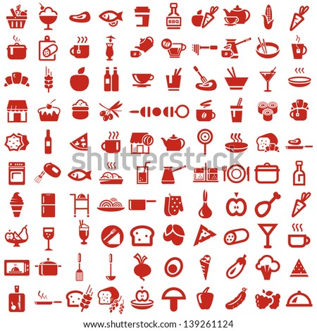 colored food and kitchen icons - stock vector
