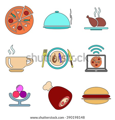 Colored food icons set - stock vector