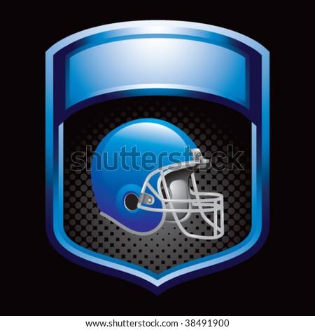 colored football helmet on blue display - stock vector
