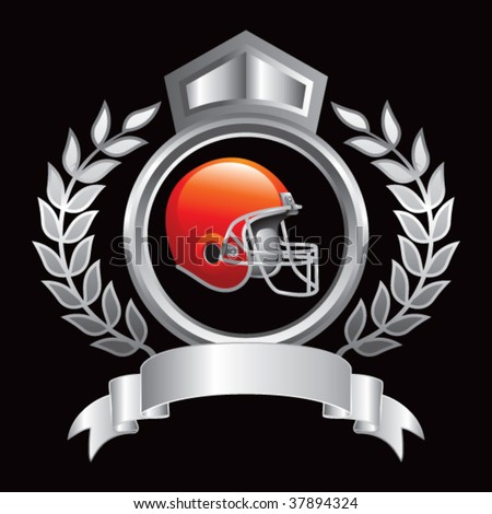 colored football helmet on silver royal crest - stock vector