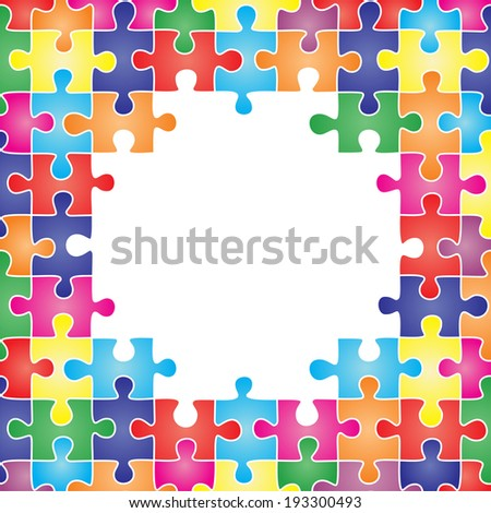 Colored frame made up of pieces of puzzle. Vector illustration