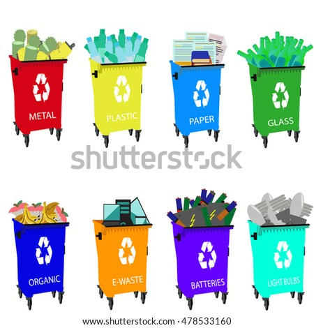 Colored garbage cans with waste categories.Colored waste bins with waste sorting categories.Organic, batteries, metal,plastic, paper, glass, e-waste, light bulbs.