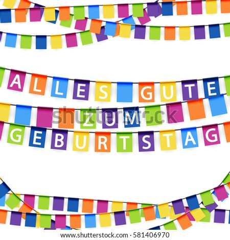 colored garlands background with white text happy birthday text in german