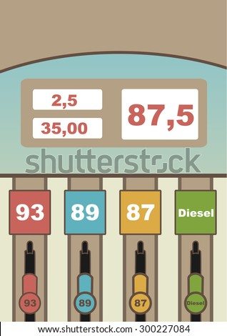colored gas station.  Several fuels with signatures for each. Dial for the price of gasoline, the number of liters and the total cost - stock vector