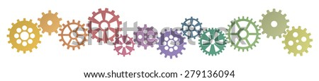 colored gears row for cooperation or teamwork symbolism - stock vector
