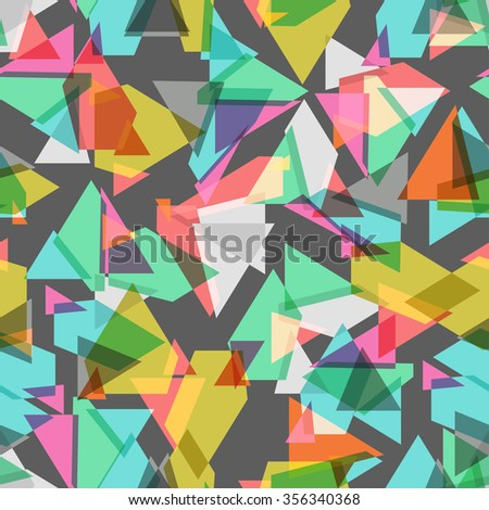 colored geometric seamless background over dark, Vector - stock vector