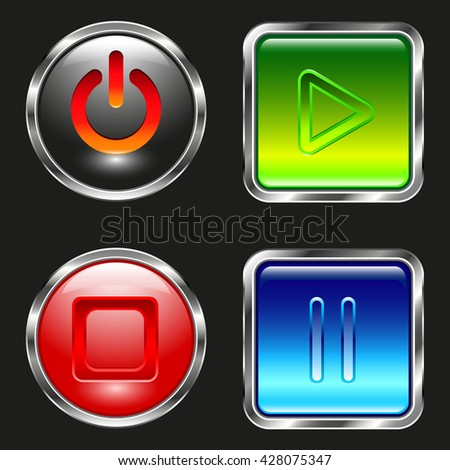 Colored glass buttons metal stroke