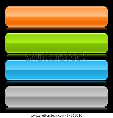 Colored glossy blank web 2.0 button. Rounded rectangle shapes with reflection on black background
