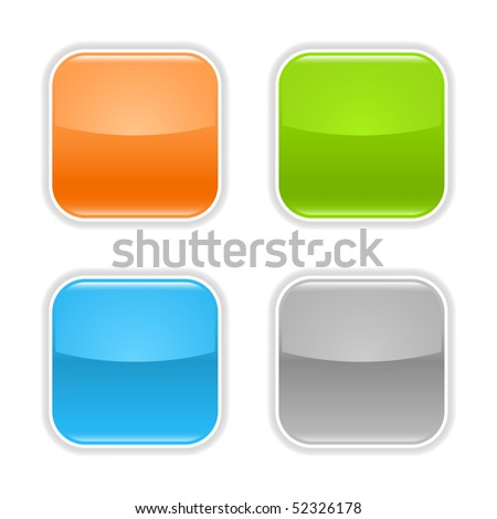 Colored glossy blank web button with shadow on white - stock vector