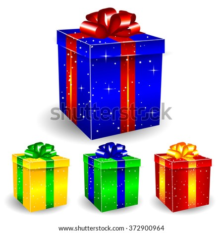 Colored Glossy 3D Present Box Vector Set - stock vector