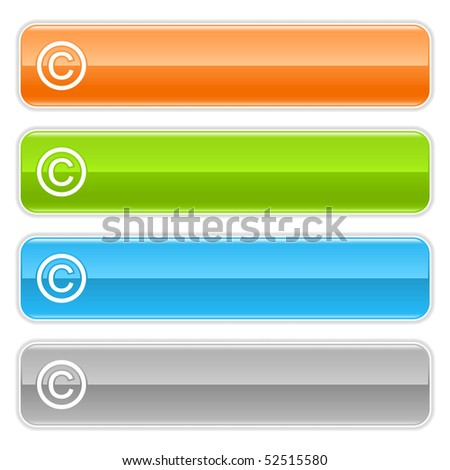 Colored glossy long web buttons bar with copyright sign on white - stock vector