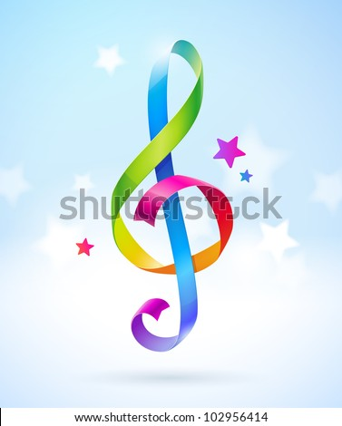 Colored glossy ribbons in the shape of treble clef - vector illustration - stock vector