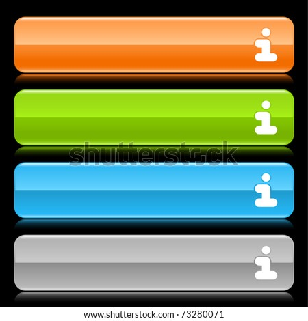 Colored glossy rounded rectangle web bar with information sign with reflection on black - stock vector