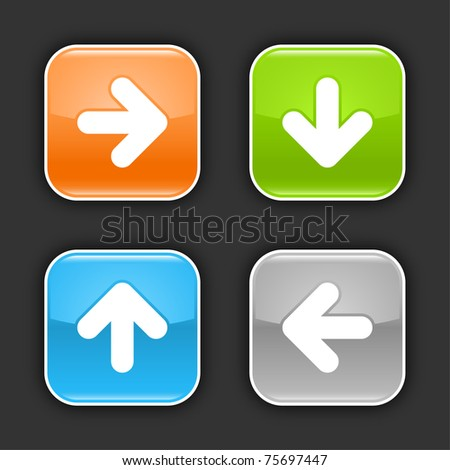 Colored glossy rounded square buttons with arrow sign with shadow on gray. 10 eps - stock vector