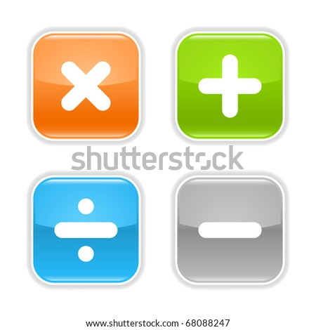 Colored glossy rounded square buttons with mathematical sign with drop shadow on white - stock vector