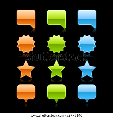 Colored glossy speech bubble, round label, star and map pin web button on black - stock vector