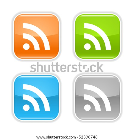 Colored glossy square web buttons with RSS sign on white - stock vector