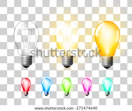 Colored  glowing and turned off electric light bulbs on transparent background, vector illustration - stock vector