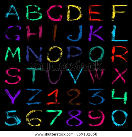 colored graffiti alphabet and numbers on a black background vector illustration