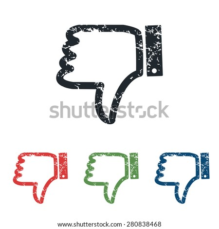 Colored grunge icon set with image of dislike, isolated on white - stock vector