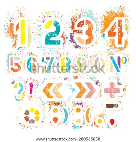 Colored grunge numbers for your design