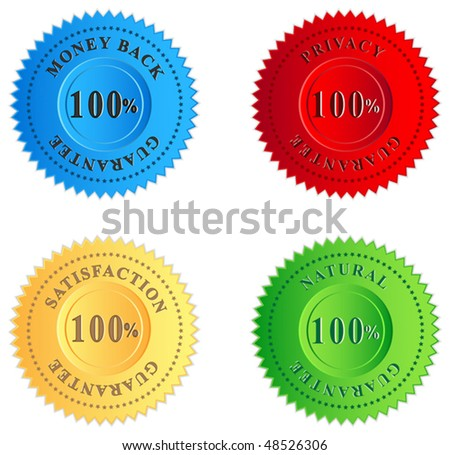 Colored guarantee labels - stock vector