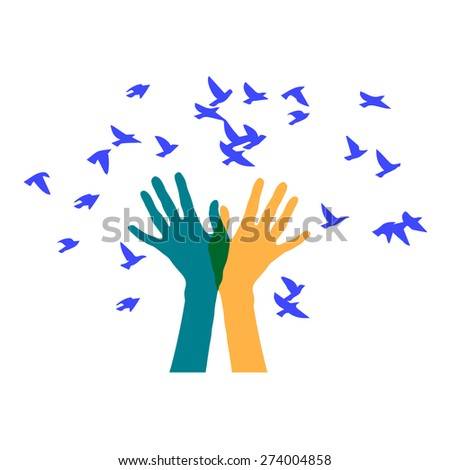 colored hand and a flock of birds - stock vector