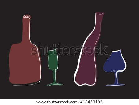 Colored hand-drawn bottles and glass.