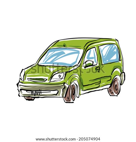 Colored hand drawn car on white background, illustration of a station wagon.