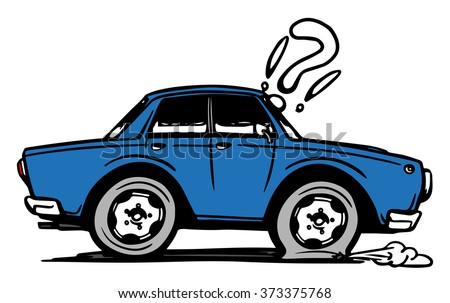 Colored hand drawn car with a flat tire. Vector illustration - stock vector