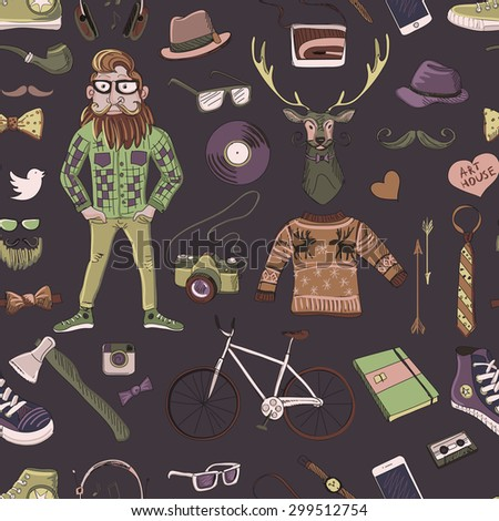 Colored hand-drawn Hipster style pattern, excellent vector illustration, EPS 10