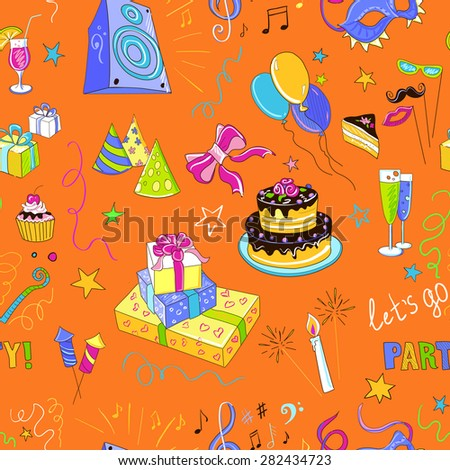 Colored hand-drawn party icon pattern, excellent vector illustration, EPS 10