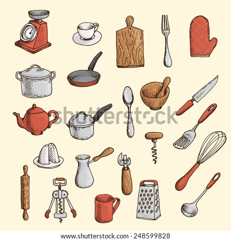 Colored hand-drawn set of kitchen utensil - stock vector