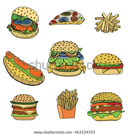 Colored Hand-drawn set of sketchy fast food illustrations, burgers, hot dogs, French fries and pizza. Vector illustration, isolated on white
