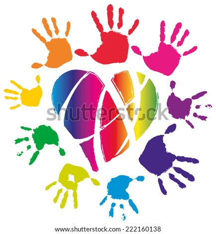 Colored hands around neon heard, isolated, vector illustration on white - stock vector