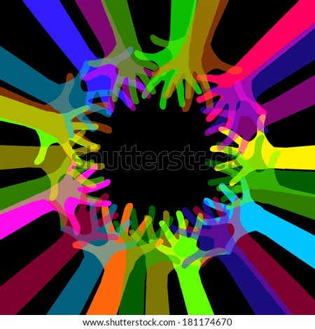 colored hands in a circle. Vector  - stock vector