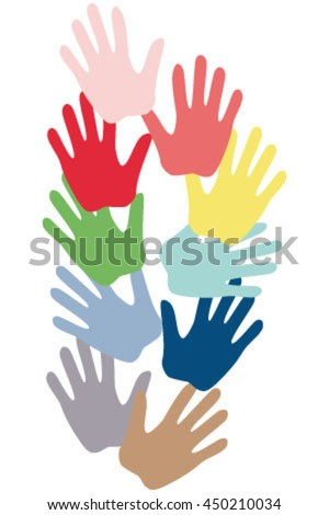 colored hands, vector illustration