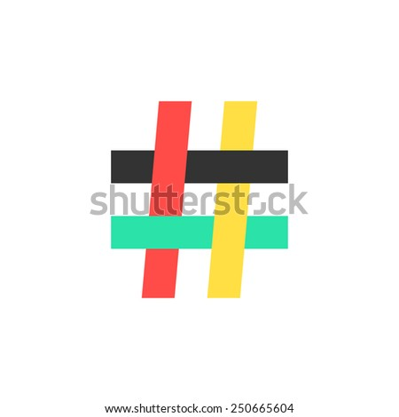 colored hashtag icon on white background. concept of number sign, social media, mark message, social networks, short messages, microblogging. flat style trendy modern logo design vector illustration - stock vector