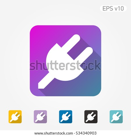 Colored icon of plug symbol with shadow