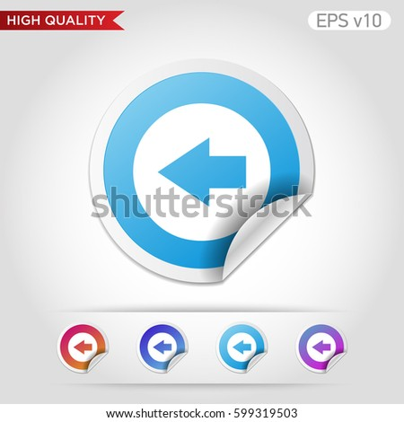Colored Icon Button Left Arrow Symbol Stock Photo Photo Vector