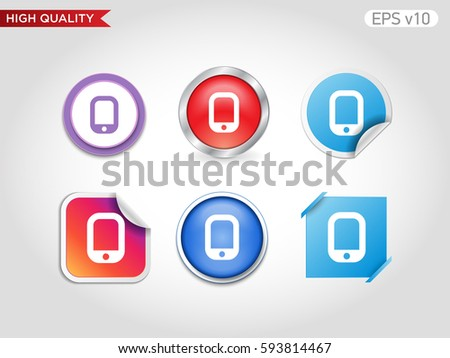 Colored icon or button of tablet symbol with background
