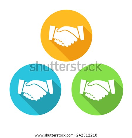 Colored Icons of Handshake isolated on White Background - stock vector