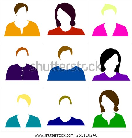 Colored icons women. Vector.  - stock vector