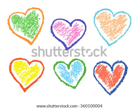 Colored illustration with love hearts on white. Set of funny hearts. Colorful pastel chalk crayon hand drawing valentine`s day`s design elements, vector background. - stock vector
