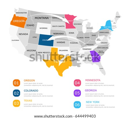 Colored infographics usa map arrows economic stock vector 2018 colored infographics usa map with arrows economic business concept for presentations web economic ccuart Images