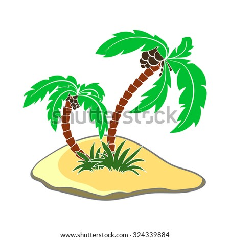 Colored island with palms on the white background. Vector illustration.