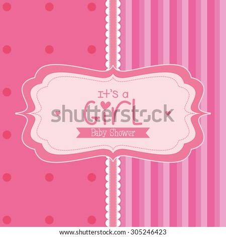 Colored label on a textured background for baby showers. Vector illustration