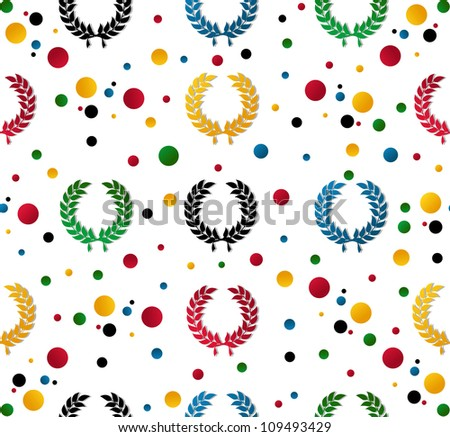 Colored laurel wreath and dots seamless pattern background. Vector illustration layered for easy manipulation and customisation.