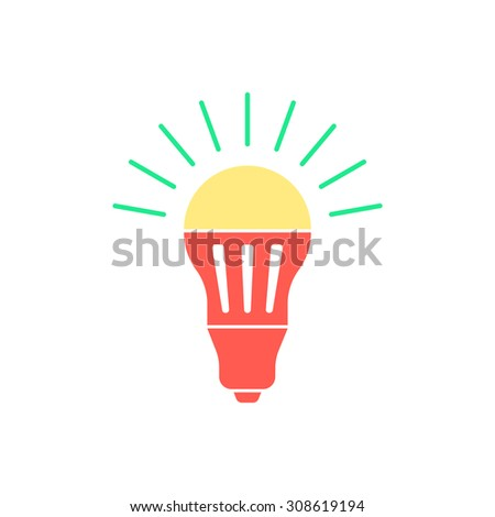 colored led bulb with green light flash. concept of halogen, invention, luminosity, illuminate, energy conservation. isolated on white background. flat style trend logo design vector illustration - stock vector